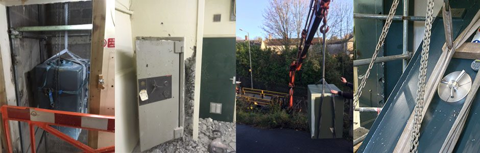 Safes being removed by specialist safe removal company